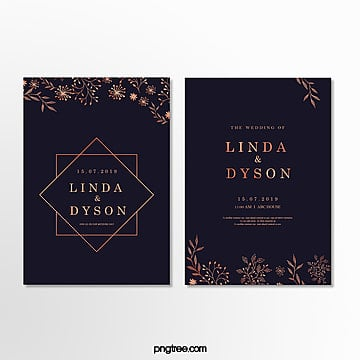 invitation letter for a simple wedding in dark blue and gold Template