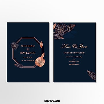 invitation letter for minimalist wedding in dark blue Template