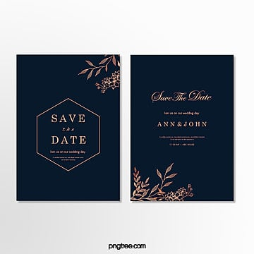 invitation letter for minimalist wedding with dark blue and gold pattern Template