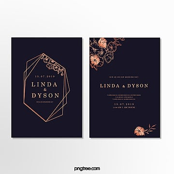 invitation letter for wedding with dark blue gold border wedding menu Template