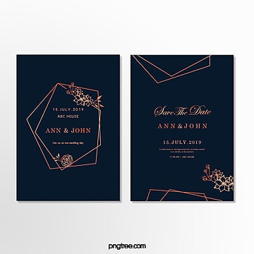 invitation letter for wedding with minimal geometric border in dark blue Template