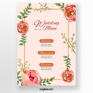 orange flower border wedding menu template Template