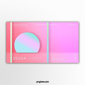 pink holographic gradient geometry exhibition banner Template
