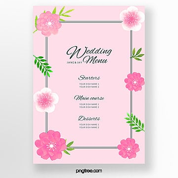 pink warm lace wedding menu template Template