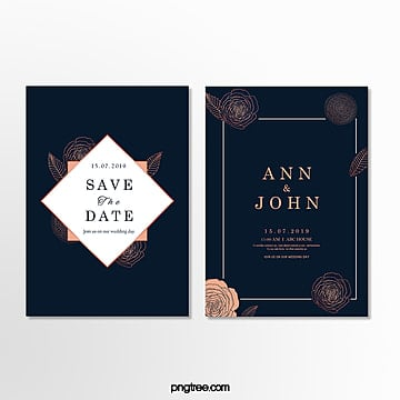 simple dark blue pattern wedding invitation letter Template