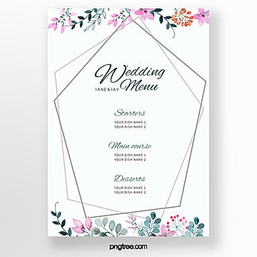 simple nordic lace wedding menu template Template