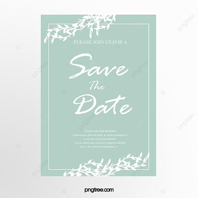Mint Green Wild Herbs Decoration Brief Wedding Invitation Letter