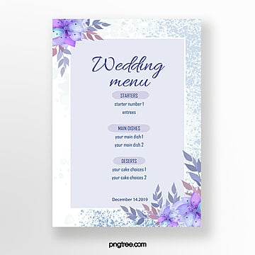 blue handpainted flower wedding menu Template