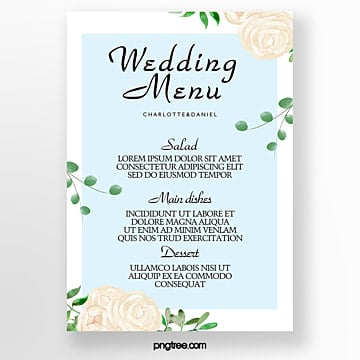 blue watercolor flowers  green leaves  simple wedding menu Template