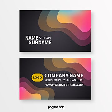 color geometry trend neon fluid shape creative business card Template
