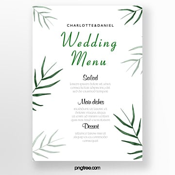 green watercolor palm green leaf wedding menu Template
