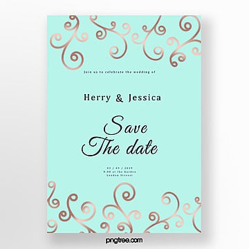 mint blue simple rose gold wedding invitation letter wedding menu Template