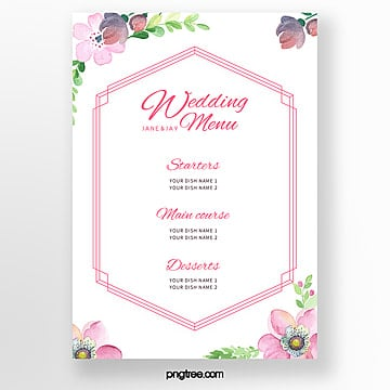 pink elegant flowers wedding menu template Template