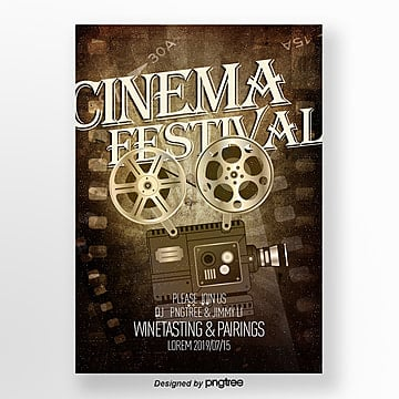 poster design of projector in retro style film festival Template