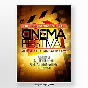 retro style fashion simple film festival publicity poster Template