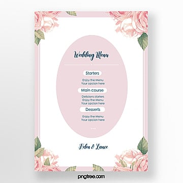 simple and warm pink flowers wedding menu template Template