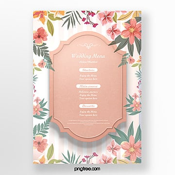 simple and warm wedding menu with fresh pink flowers Template