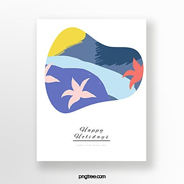 simple color hand painted greeting cards Template