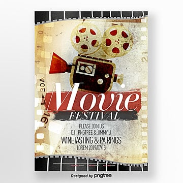 simple retro texture projector festival posters Template