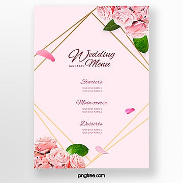 warm pink flower border wedding menu template Template