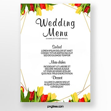 warm wedding menu of colorful watercolor plants and flowers Template