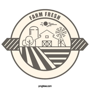 original hand drawn line drawing farm logo Template
