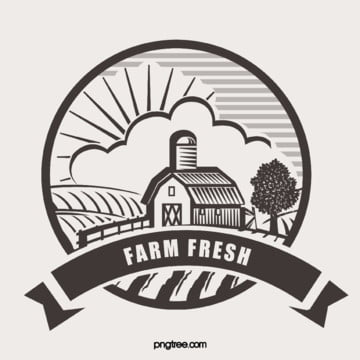 original hand painted circular farm fresh logo Template