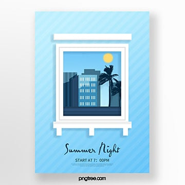 creative posters in three dimensional paintings of urban buildings outside blue windows Template