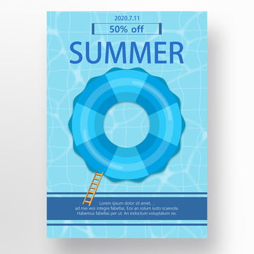 blue three dimensional picture in picture creative summer seaside seawater promotion poster Template