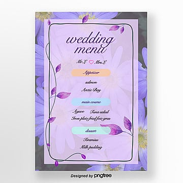 purple wedding menu poster Template