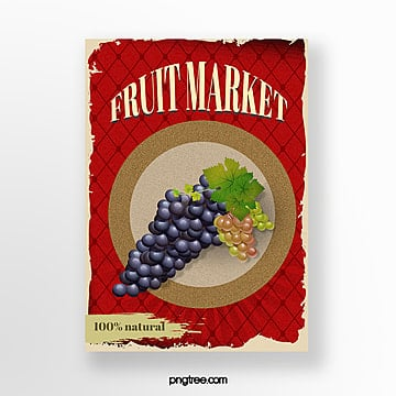 creative red vintage fruit market poster Template