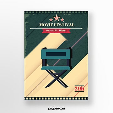 director chair icon retro film festival poster Template