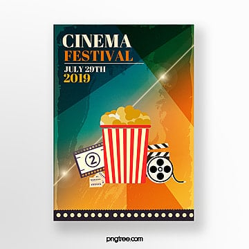 gradient retro film festival poster Template
