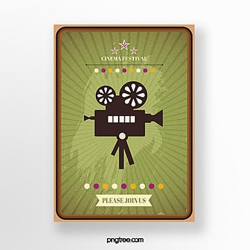 green border retro film festival poster Template