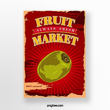 red nostalgic kiwi fruit poster Template