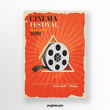 red retro film festival poster Template