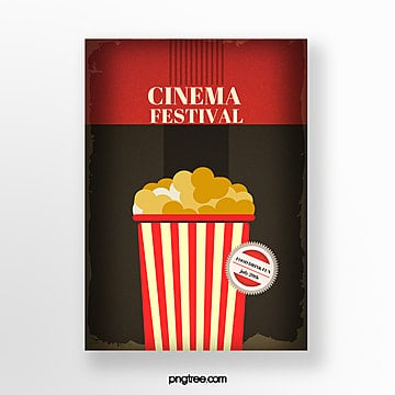 retro popcorn film festival poster Template