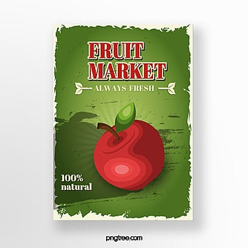 scratch background apple market poster Template