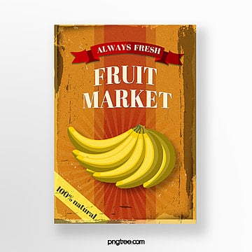 vintage label fruit banana poster Template