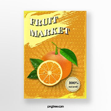 yellow orange fruit market poster Template
