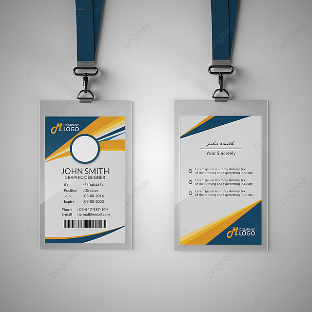 Business Cards Template: Modern Blue And Yellow Id Card Template Template For Free