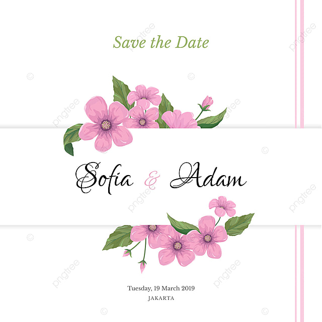 Wedding Invitation Template With Pink Flowers For Free