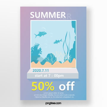 three dimensional promotion gradient simple summer three dimensional painting poster Template