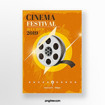 yellow film retro film festival event poster Template
