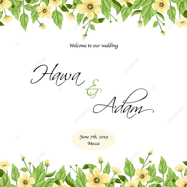 Wedding Invitation Template Design With Cute Yellow Flowers