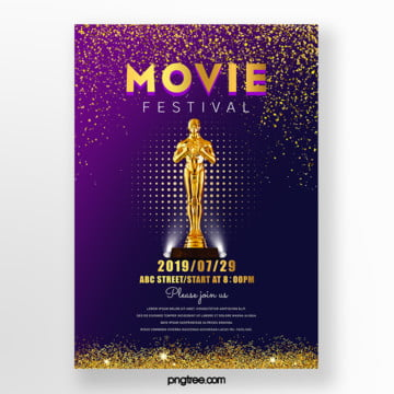 atmospheric gradient golden texture film festival trophy poster Template