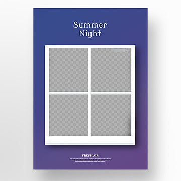 blue violet summer three dimensional picture in picture poster Template