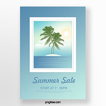 blue window beach landscape three dimensional picture painting creative poster Template