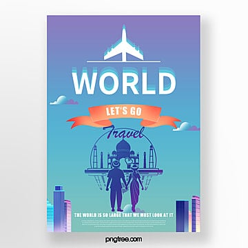 color gradient building city airplane travel poster Template