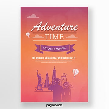 color gradient building city balloon travel poster Template